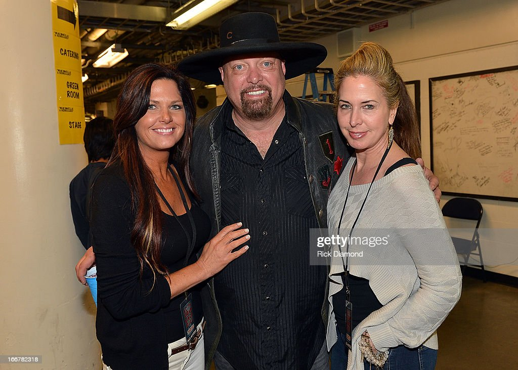 Jennifer Belcher, Eddie Montgomery, and Trey Fanjoy backstage during Keith Urban's Fourth annual We're All For The Hall benefit concert at Bridgestone Arena on April 16, 2013 in Nashville, Tennessee.