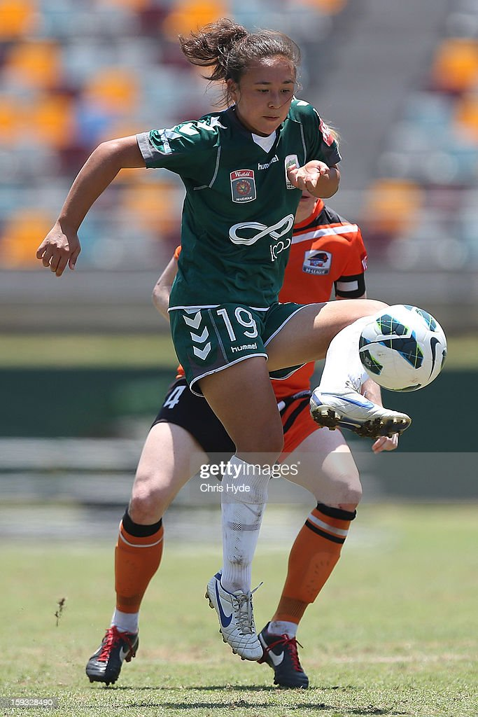 Jennifer Bisset of United kicks the ball during the round 12 W-League match between the Brisbane Roar and Canberra United at Queensland Sport and Athletics Centre on January 12, 2013 in Brisbane, Australia.