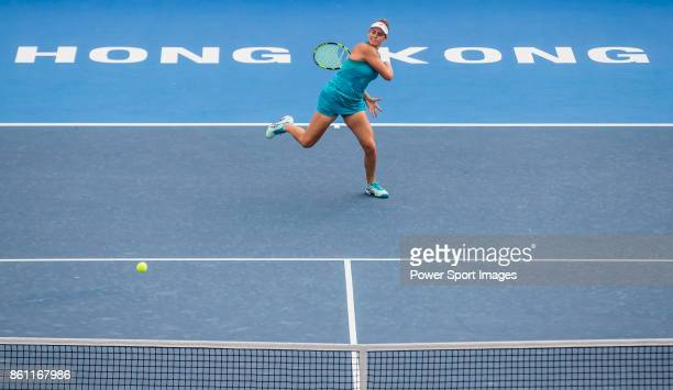 Jennifer Brady of the United States hits a return during her womenâs singles semifinal match of the Prudential Hong Kong Tennis Open 2017 between...