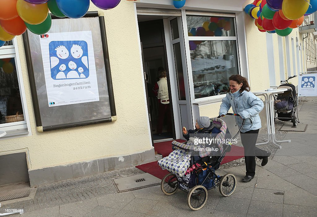 Jennifer Bredtmeyer, who is lesbian, pushes her son Nickolas, 2, in a pram after she attended the opening of Germany's first gay parent counseling center on March 15, 2013 in Berlin, Germany. The Regenbogenfamilien Zentrum (Rainbow Families Center) will provide counseling and other services to families with gay, lesbian and transgender parents. Gay marriage is legal in Germany though gay couples are not entitled to the same full legal rights as heterosexual couples, and the issue of child adoption by gay couples remains legally somewhat complicated.