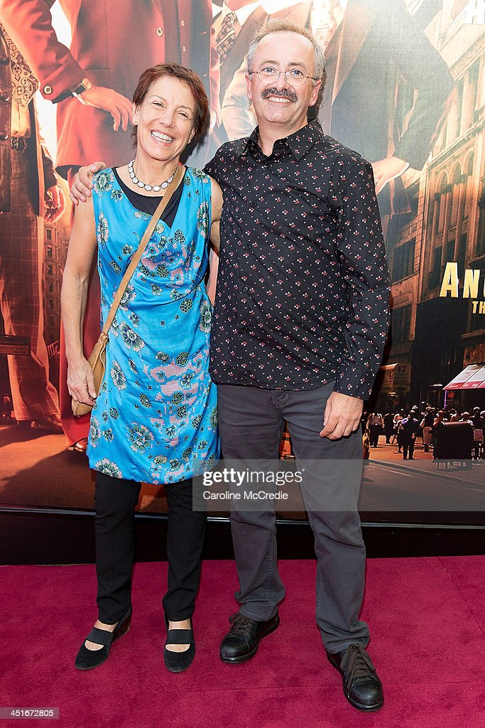 Jennifer Byrne and <a gi-track='captionPersonalityLinkClicked' href=/galleries/search?phrase=Andrew+Denton&family=editorial&specificpeople=225023 ng-click='$event.stopPropagation()'>Andrew Denton</a> arrive at the 'Anchorman 2: The Legend Continues' Australian premiere on November 24, 2013 in Sydney, Australia.