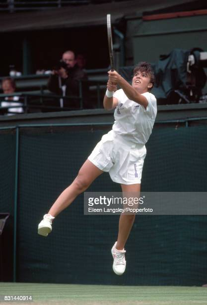 Jennifer Capriati of the USA in action during a women's singles match at the Wimbledon Lawn Tennis Championships in London circa July 1991 Capriati...