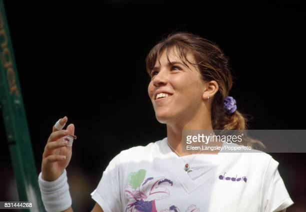 Jennifer Capriati of the USA smiling during a women's singles match at the Wimbledon Lawn Tennis Championships in London circa July 1992 Capriati was...