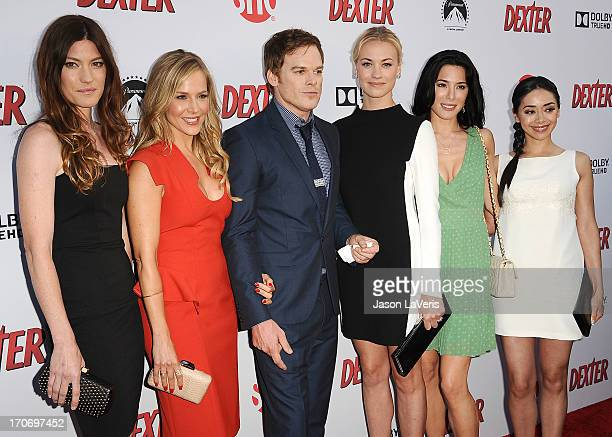 Jennifer Carpenter Julie Benz Michael C Hall Yvonne Strahovski Jaime Murray and Aimee Garcia attend the 'Dexter' series finale season premiere party...