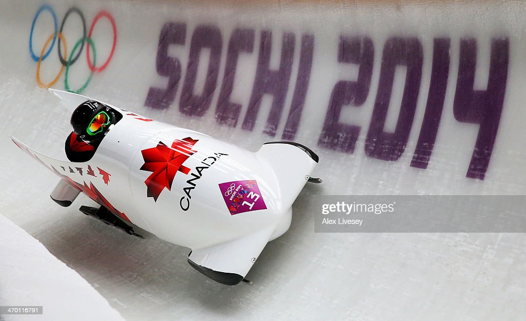 <a gi-track='captionPersonalityLinkClicked' href=/galleries/search?phrase=Jennifer+Ciochetti&family=editorial&specificpeople=5631266 ng-click='$event.stopPropagation()'>Jennifer Ciochetti</a> and Chelsea Valois of Canada team 2 make a run during the Women's Bobsleigh heats on day 11 of the Sochi 2014 Winter Olympics at Sliding Center Sanki on February 18, 2014 in Sochi, Russia.