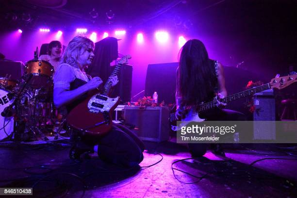 Jennifer Clavin and Micayla Grace of Bleached perform at Ace of Spades on September 12 2017 in Sacramento California