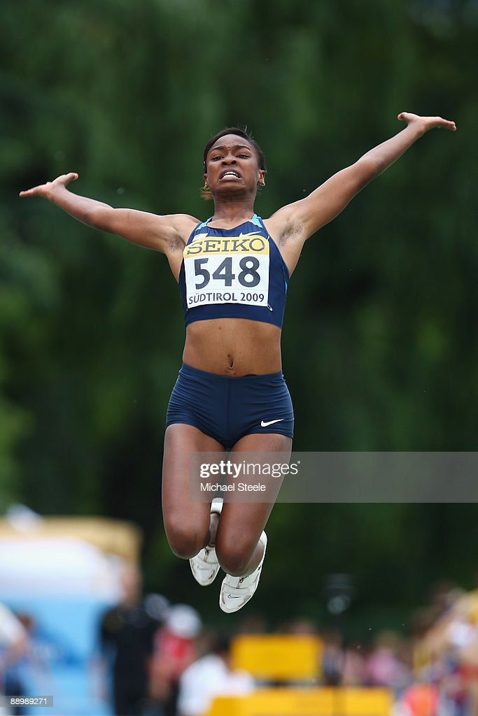 Jennifer Clayton of USA on her way to bronze in the girl's long jump final during day five of the Iaaf World Youth Championships at the Bressanone Sports Complex on July 12, 2009 in Brixone Bressanone, Italy.