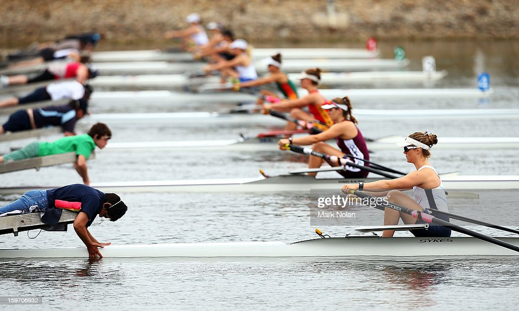 Jennifer Cleary of Victoria prepares to start in the Women's Singles Sculls at the rowing on day four of the Australian Youth Olympic Festival at Sydney International Regatta Centre on January 19, 2013 in Sydney, Australia.