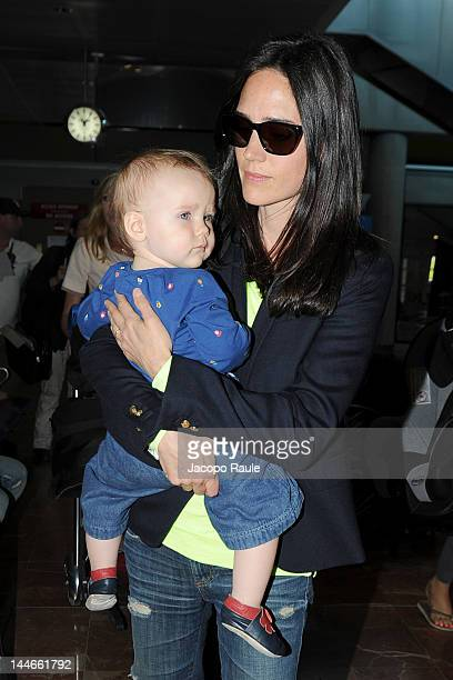 Jennifer Connelly and her baby arrive at Nice Airport during 65th Cannes Film Festival on May 17 2012 in Nice France