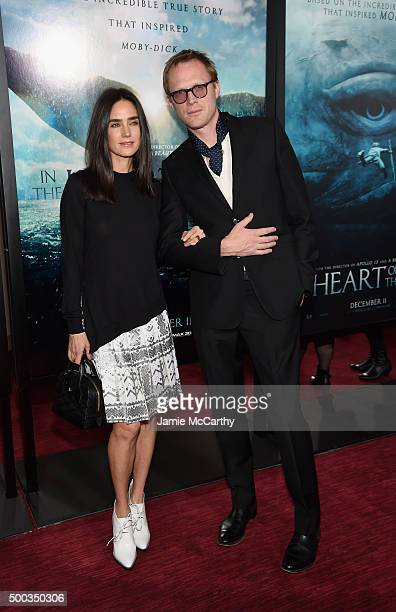 Jennifer Connelly and Paul Bettany attend 'In The Heart Of The Sea' Premiere at Frederick P Rose Hall Jazz at Lincoln Center on December 7 2015 in...