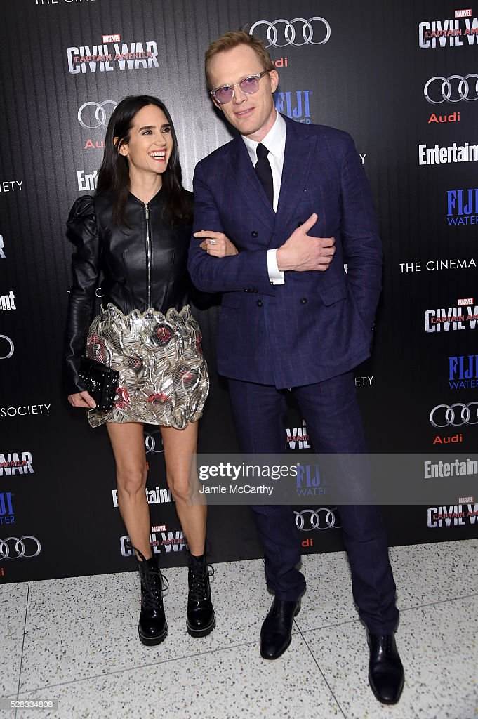 <a gi-track='captionPersonalityLinkClicked' href=/galleries/search?phrase=Jennifer+Connelly&family=editorial&specificpeople=201581 ng-click='$event.stopPropagation()'>Jennifer Connelly</a> and <a gi-track='captionPersonalityLinkClicked' href=/galleries/search?phrase=Paul+Bettany&family=editorial&specificpeople=202591 ng-click='$event.stopPropagation()'>Paul Bettany</a> attend the screening Of Marvel's 'Captain America: Civil War' hosted by The Cinema Society with Audi & FIJI at Henry R. Luce Auditorium at Brookfield Place on May 4, 2016 in New York City.