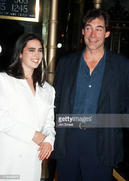 Jennifer Connelly and Timothy Dalton during 'The Rocketeer' RibbonCutting Ceremony 1991 at El Capitan Theater in Hollywood California United States
