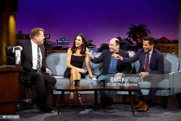 Jennifer Connelly Jason Alexander and Mark Consuelos chat with James Corden during 'The Late Late Show with James Corden' Tuesday October 10 2017 On...