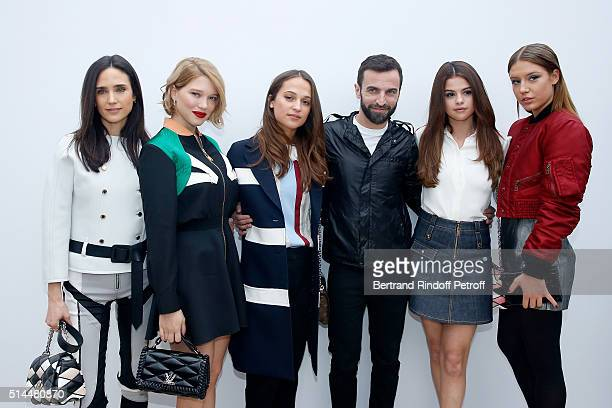 Jennifer Connelly Lea Seydoux Alicia Vikander Stylist Nicolas Ghesquiere Selena Gomez and Adele Exarchopoulos pose backstage after the Louis Vuitton...