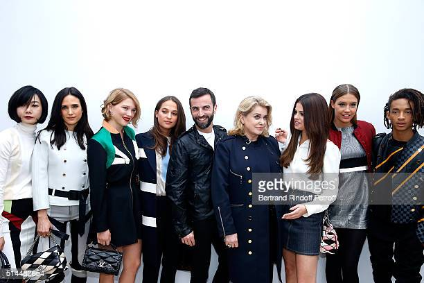 Jennifer Connelly Lea Seydoux Alicia Vikander Stylist Nicolas Ghesquiere Selena Gomez Adele Exarchopoulos and Jaden Smith pose backstage after the...
