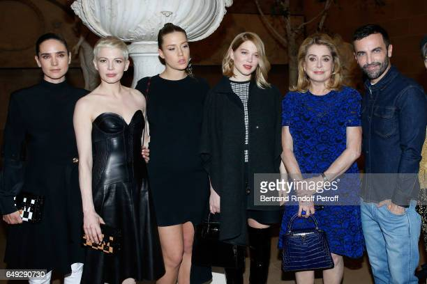 Jennifer Connelly Michelle Williams Adele Exarchopoulos Lea Seydoux Catherine Deneuve and Stylist Nicolas Ghesquiere pose after the Louis Vuitton...
