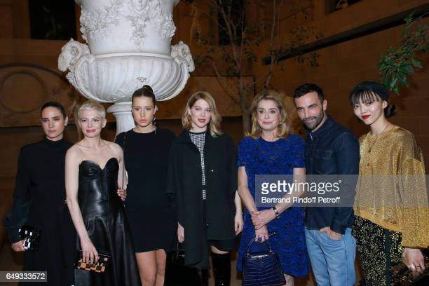 Jennifer Connelly Michelle Williams Adele Exarchopoulos Lea Seydoux Catherine Deneuve Stylist Nicolas Ghesquiere and Rila Fukushima pose after the...