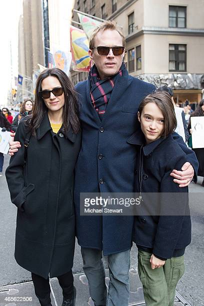 Jennifer Connelly Paul Bettany and Stellan Bettany attend the 2015 International Women's Day March at Dag Hammarskjold Plaza on March 8 2015 in New...