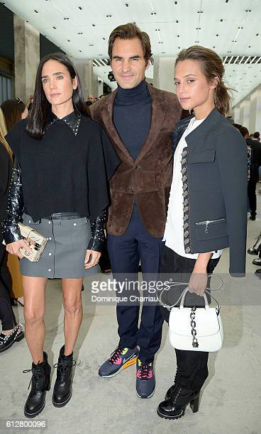 Jennifer Connolly Roger Federer and Alicia Vikander attend the Louis Vuitton show as part of the Paris Fashion Week Womenswear Spring/Summer 2017 on...