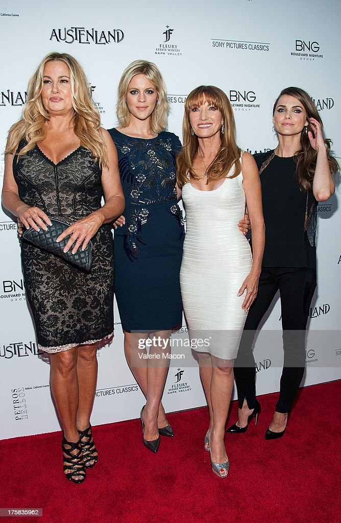 <a gi-track='captionPersonalityLinkClicked' href=/galleries/search?phrase=Jennifer+Coolidge&family=editorial&specificpeople=239149 ng-click='$event.stopPropagation()'>Jennifer Coolidge</a>, <a gi-track='captionPersonalityLinkClicked' href=/galleries/search?phrase=Georgia+King&family=editorial&specificpeople=5846970 ng-click='$event.stopPropagation()'>Georgia King</a>, Jane Seymour and <a gi-track='captionPersonalityLinkClicked' href=/galleries/search?phrase=Keri+Russell&family=editorial&specificpeople=203250 ng-click='$event.stopPropagation()'>Keri Russell</a> arrives at the premiere of Sony Pictures Classics' 'Austenland' at ArcLight Hollywood on August 8, 2013 in Hollywood, California.