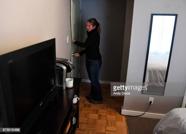 Jennifer DahirKanehl looks the door to her lockoff room that's attached to her condo April 26 2017 in Breckenridge Colorado DahirKanehl uses the...