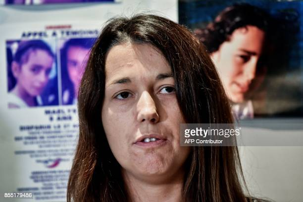 Jennifer de Araujo mother of nineyearold Maelys who went missing from a wedding on August 27 addresses a press conference in Villeurbanne eastern...