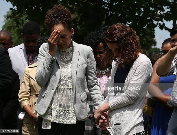 Jennifer DeCasper Chief of Staff for Sen Tim Scott is overcome with emotion during a prayer circle attended by members of the US House of...