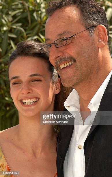 Jennifer Decker and Jean Reno during 2005 Cannes Fim Festival 'Flyboys' Photocall at Hotel Martinez in Cannes France