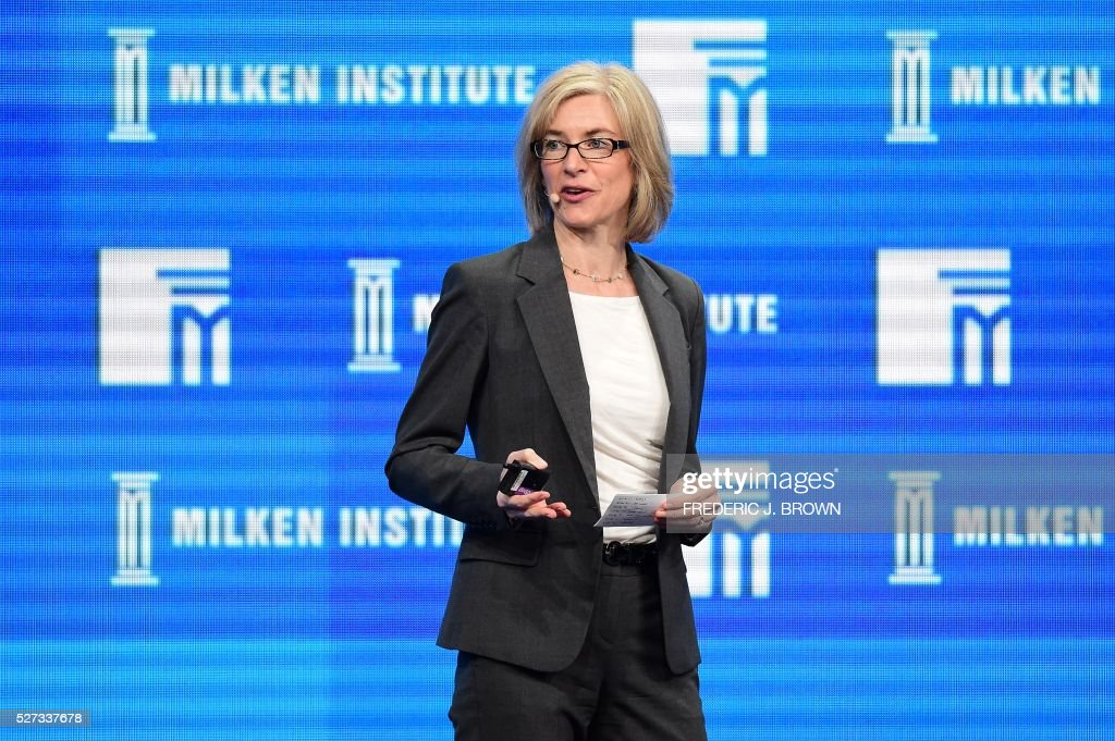 Jennifer Doudna, Professor of Chemistry and of Molecular and Cell Biology, University of California, Berkeley; Investigator, Howard Hughes Medical Institute, addresses the audience during the lunch program 'The Future of Humankind' at the 2016 Milken Institute Global Conference in Beverly Hills, California on May 2, 2016. / AFP / FREDERIC