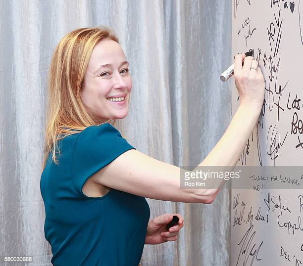Jennifer Ehle signs the wall at AOL HQ to promote her film 'Little Men' at AOL Build on July 25 2016 in New York City