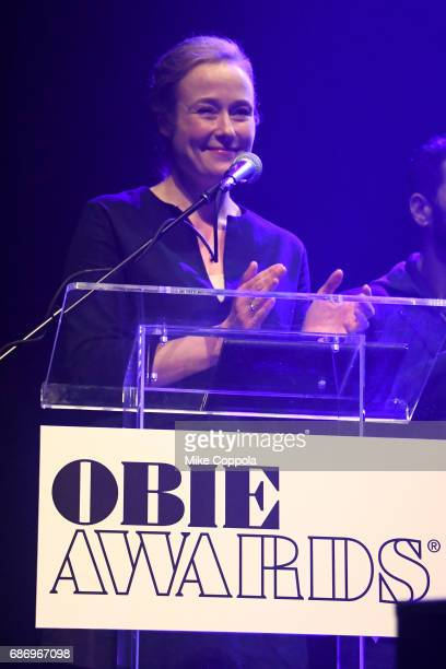 Jennifer Ehle speaks on stage during the 2017 Obie Awards at Webster Hall on May 22 2017 in New York City