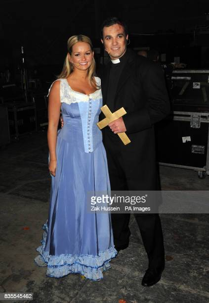 Jennifer Ellison and Shannon Noll before a dress rehearsal of War Of The Worlds at Elstree Studios Borehamwood in Hertfordshire
