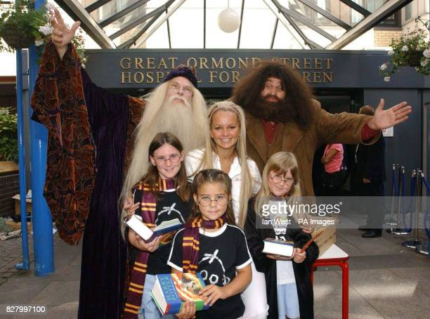 Jennifer Ellison Hagrid and Professor Dumbledore with children Charlotte Horn aged 11 rfom Luton Bethany Evans aged 6 from Swansea and Bethany Horn...