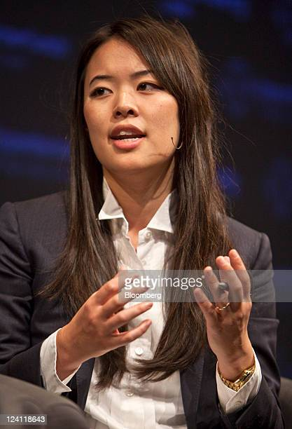 Jennifer Fan a partner and senior portfolio manage at Arrowhawk Capital Partners speaks during a panel discussion at the Bloomberg via Getty Images...