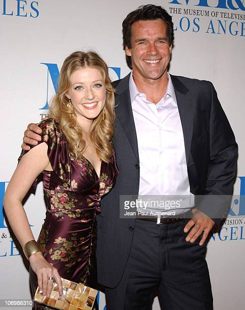 Jennifer Finnegan and David James Elliott during The Museum of Television Radio Honors Leslie Moonves and Jerry Bruckheimer Arrivals at Regent...