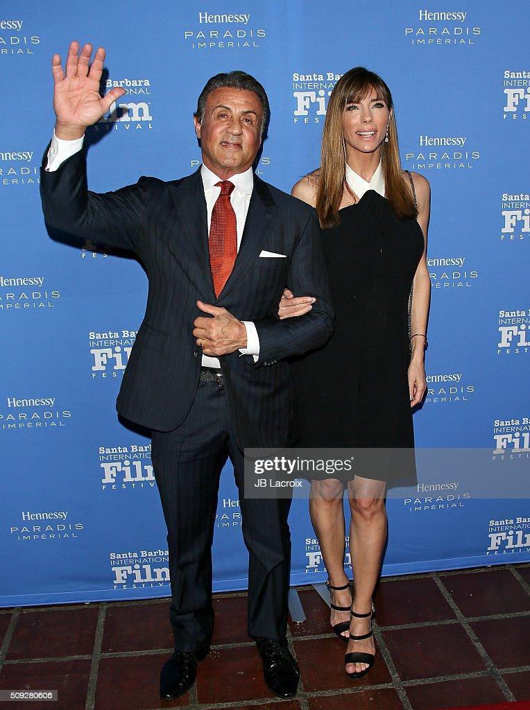 Jennifer Flavin and actor Sylvester Stallone attend the 31st Santa Barbara International Film Festival on February 9, 2016 in Santa Barbara, California.