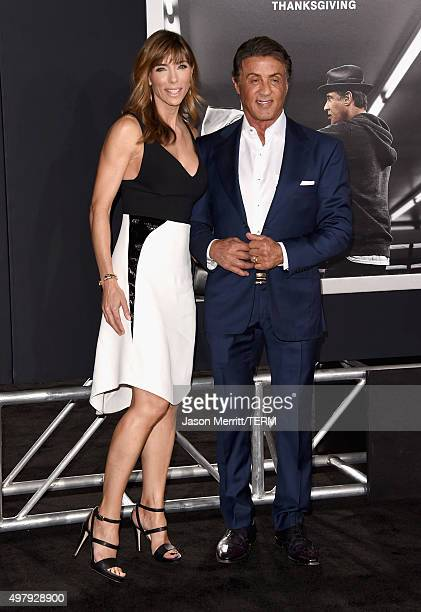 Jennifer Flavin and actor/producer Sylvester Stallone attend Warner Bros Pictures' 'Creed' Premiere at Regency Village Theatre on November 19 2015 in...