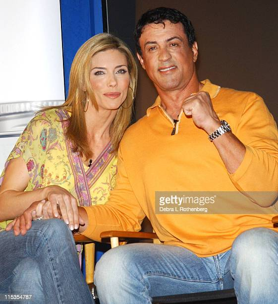 Jennifer Flavin and Sylvester Stallone during Sylvester Stallone and Jennifer Flavin Announce Instone Performance Packets at Planet Hollywood in New...