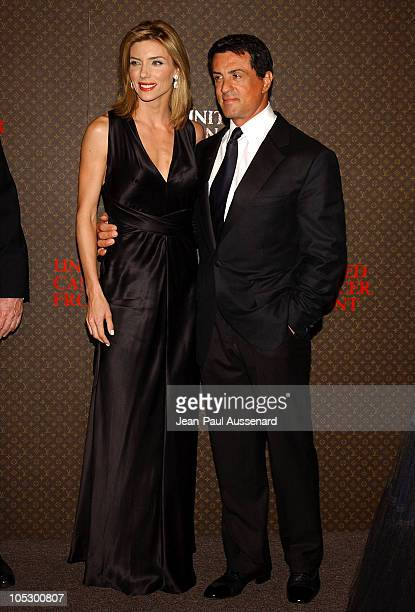 Jennifer Flavin and Sylvester Stallone during The Louis Vuitton United Cancer Front Gala Arrivals at Private Residence in Holmby Hills California...
