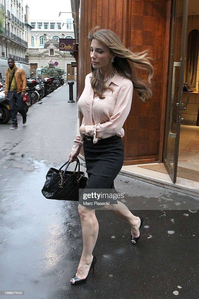 Jennifer Flavin is sighted leaving the 'Berluti' store on November 22, 2012 in Paris, France.