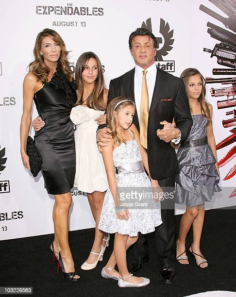Jennifer Flavin Scarlet Rose Stallone Sophia Rose Stallone Sylvester Stallone and Sistine Rose Stallone arrive at the premiere of 'The Expendables'...