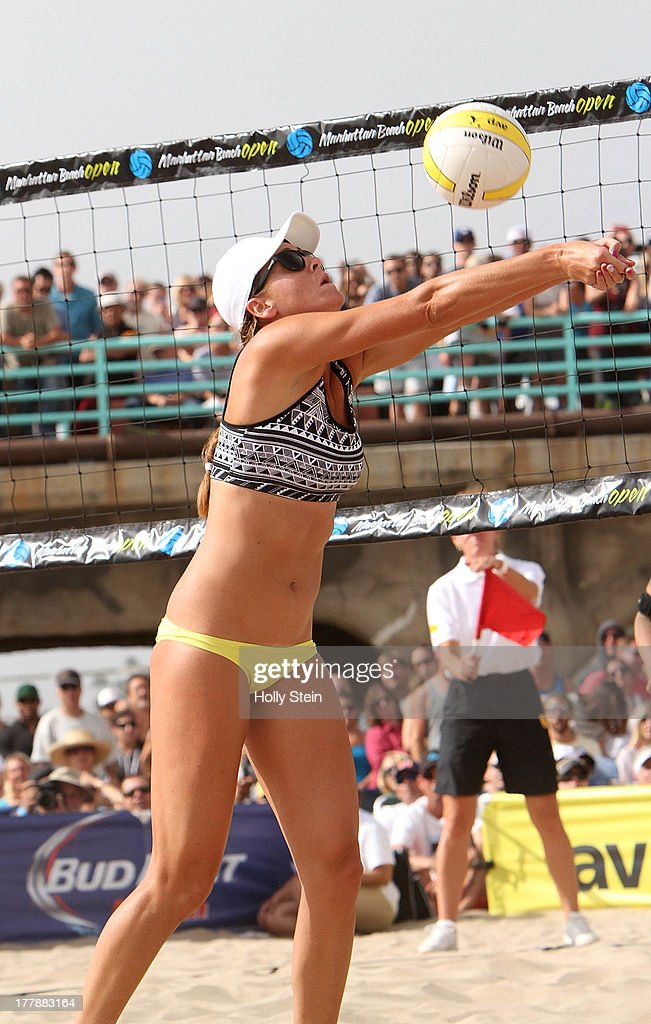 Jennifer Fopma digs the ball during the women's finals at the AVP Manhattan Beach Open on August 25, 2013 in Manhattan Beach, California. Fopma and her partner Brooke Sweat lost to Kerri Walsh Jennings and Whitney Pavlik 22-20, 21-17.