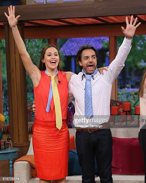 Jennifer Garner and Eugenio Derbez are seen on the set of 'Despierta America' to promote the film 'Miracles From Heaven' at Univision Studios on...