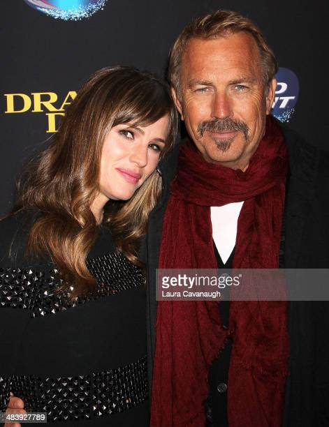 Jennifer Garner and Kevin Costner attend the 'Draft Day'' screening at Sunshine Landmark on April 10 2014 in New York City