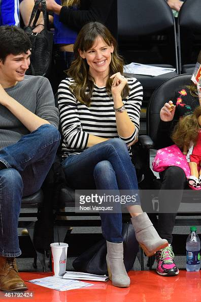 Jennifer Garner attends a basketball game between the Boston Celtics and the Los Angeles Clippers at Staples Center on January 19 2015 in Los Angeles...
