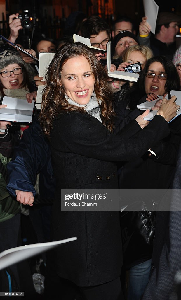 <a gi-track='captionPersonalityLinkClicked' href=/galleries/search?phrase=Jennifer+Garner&family=editorial&specificpeople=201813 ng-click='$event.stopPropagation()'>Jennifer Garner</a> attends the pre-BAFTA dinner hosted by Charles Finch and Chanel at Annabels on February 9, 2013 in London, England.