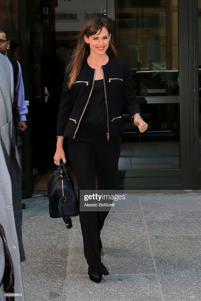 <a gi-track='captionPersonalityLinkClicked' href=/galleries/search?phrase=Jennifer+Garner&family=editorial&specificpeople=201813 ng-click='$event.stopPropagation()'>Jennifer Garner</a> is seen exiting her hotel on the way to Jimmy Fallon show on April 9, 2014 in New York City.