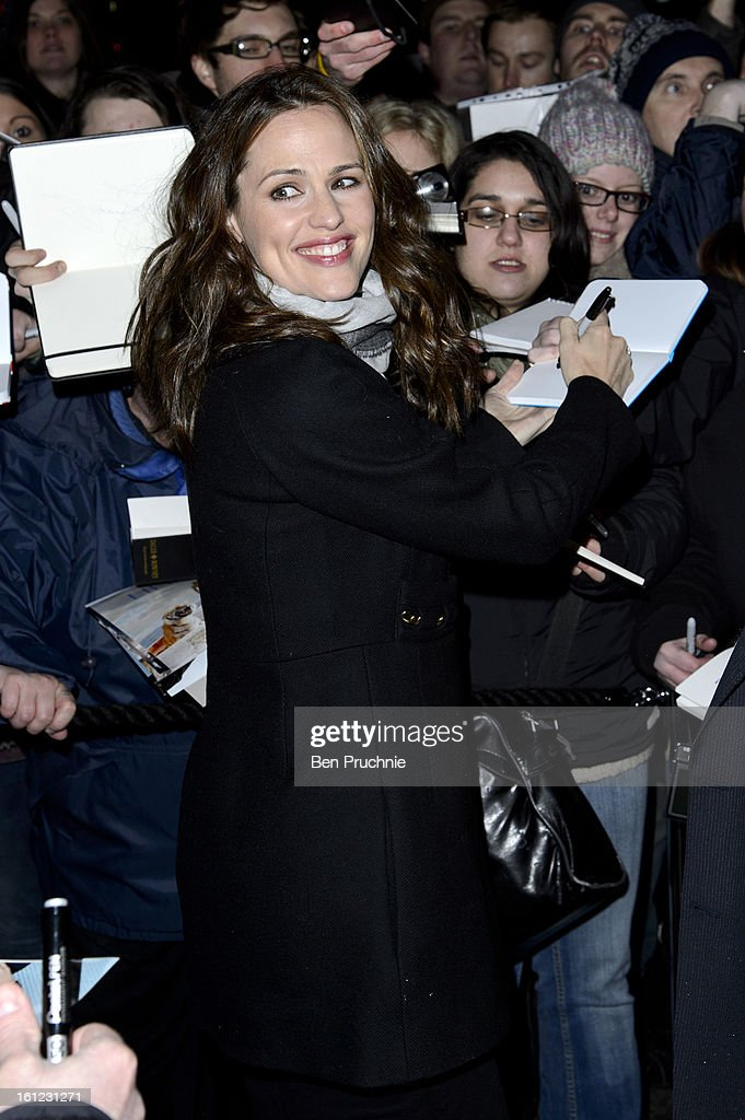<a gi-track='captionPersonalityLinkClicked' href=/galleries/search?phrase=Jennifer+Garner&family=editorial&specificpeople=201813 ng-click='$event.stopPropagation()'>Jennifer Garner</a> sighted arriving at Annabel's Pre BAFTA dinner at Annabel's Berkley Sqaure on February 9, 2013 in London, England.