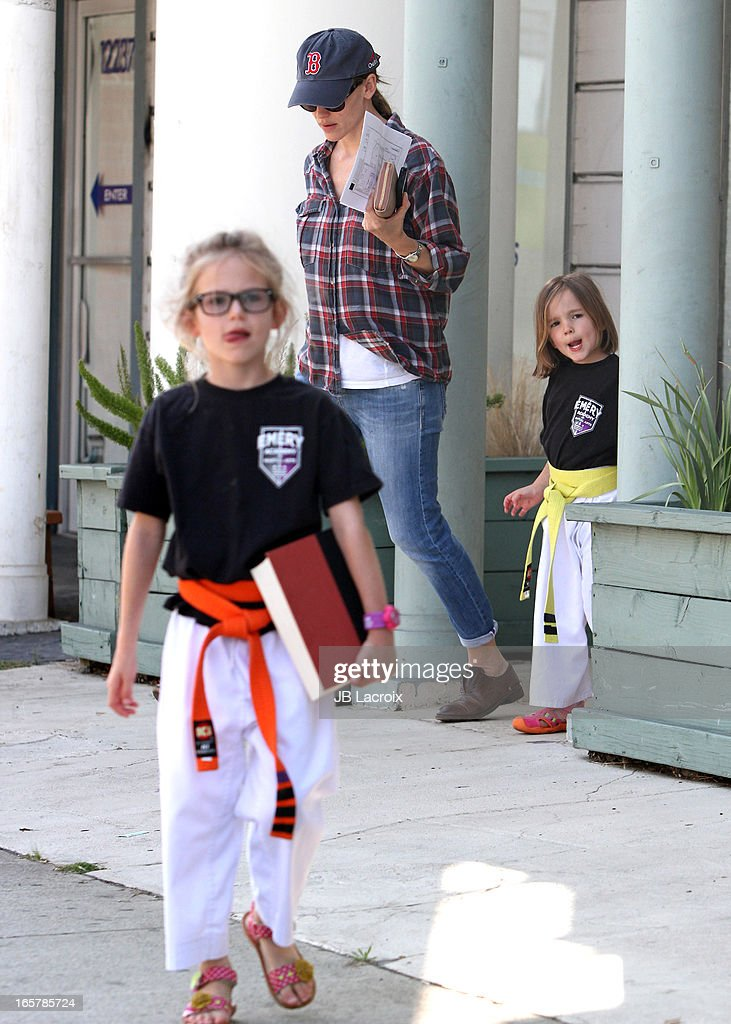 Jennifer Garner(C), Violet Affleck (L) and Seraphina Affleck are seen on April 5, 2013 in Los Angeles, California.