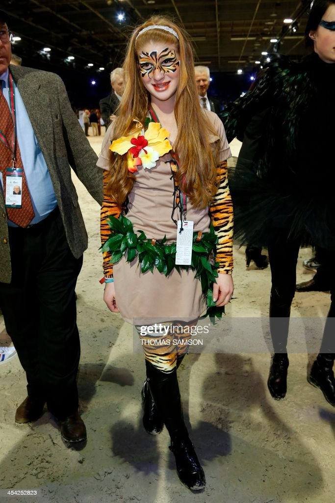 US Jennifer Gates, daughter of Bill Gates, poses during the Style and Competition for Amade charity costumed event of the Paris Masters equestrian jumping competition on December 7, 2013 at the Par...